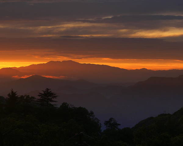 Mussoorie Poster featuring the photograph Mussoorie Sunset 3 by Padamvir Singh