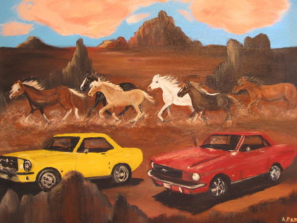 Mustang Poster featuring the painting Mustangs by Aleta Parks