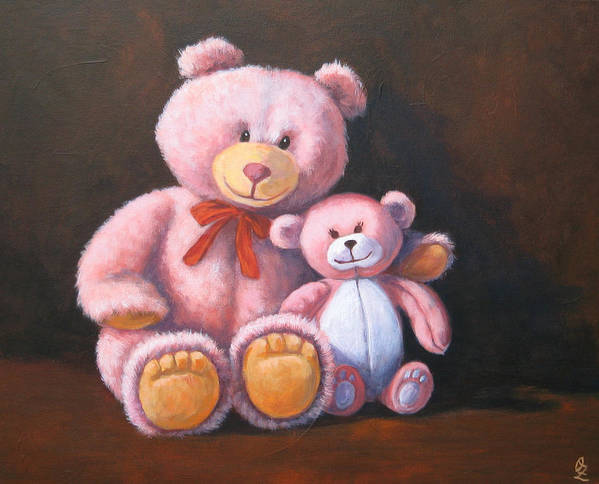 Teddy Bear Poster featuring the painting My Bears by Oksana Zotkina