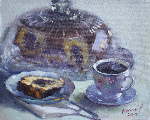 Breakfast Poster featuring the painting My Breakfast At Lida's by Ylli Haruni