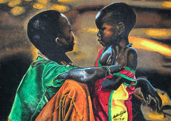 Black Art Poster featuring the pastel My Brothers Keeper by Andre Ajibade
