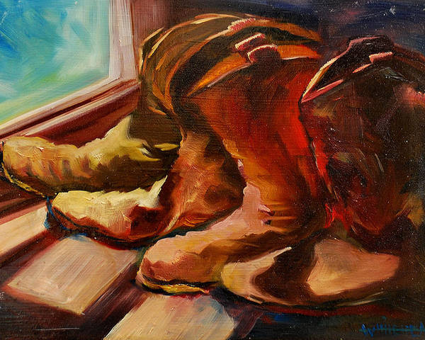 Boots Poster featuring the painting My Favorite Boots by Diane Whitehead