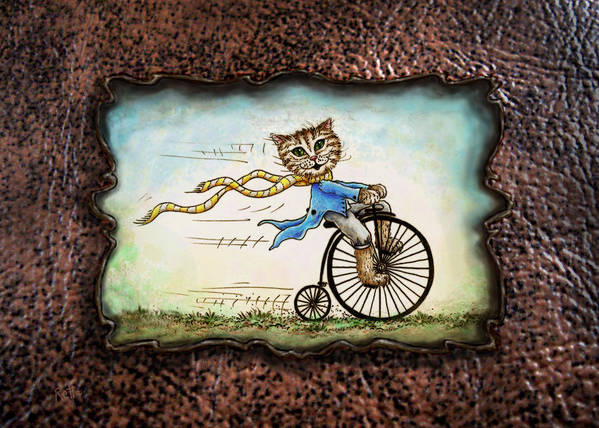 Cat Poster featuring the drawing Living Flamboyantly Leather Border by Retta Stephenson