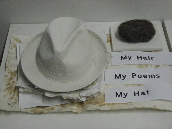 Instalation Poster featuring the photograph My Hair My Poems My Hat by Stephen Hawks