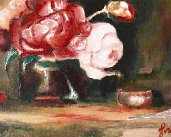 Flower Still Life Artwork Roses Poster featuring the painting My Little Flowers by Jordana Sands