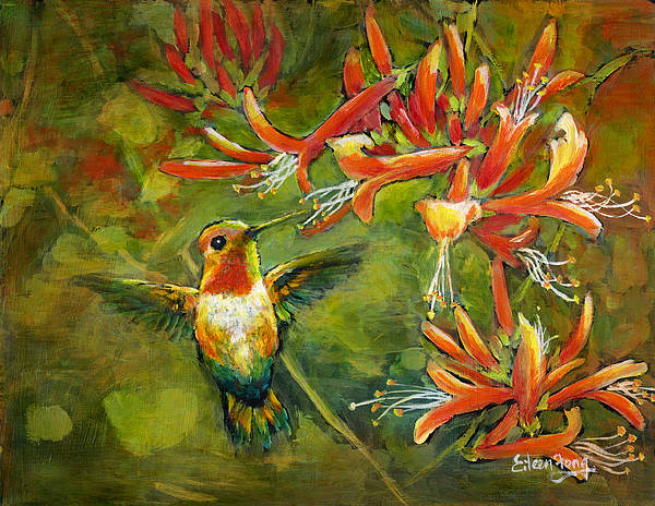 Hummingbird Poster featuring the painting My Loving Hummingbird by Eileen Fong