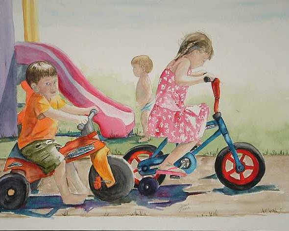 Watercolor Poster featuring the painting My sisters grandkids by Diane Ziemski