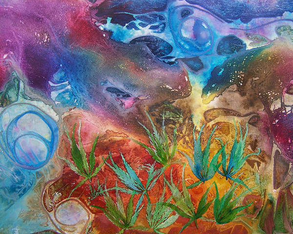 Mixed Media Poster featuring the painting Mysteries Of The Ocean by Vijay Sharon Govender