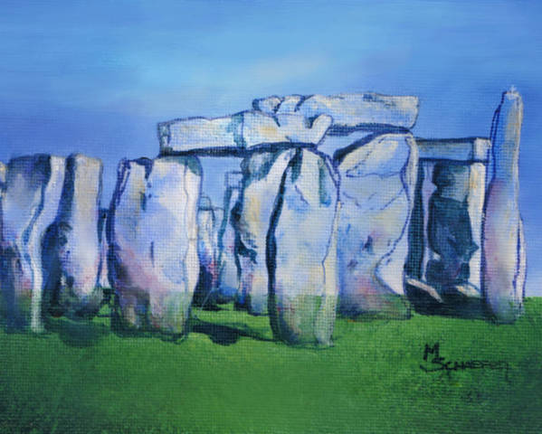 Stonehenge Poster featuring the painting Mysterious Monoliths by M Schaefer