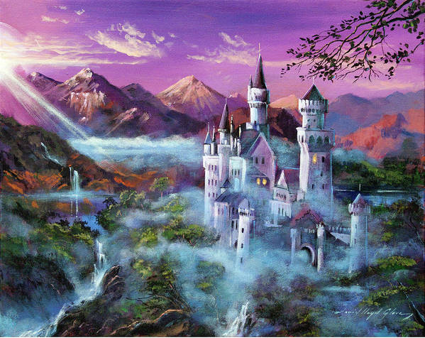 Fantasy Poster featuring the painting Mystery Castle by David Lloyd Glover