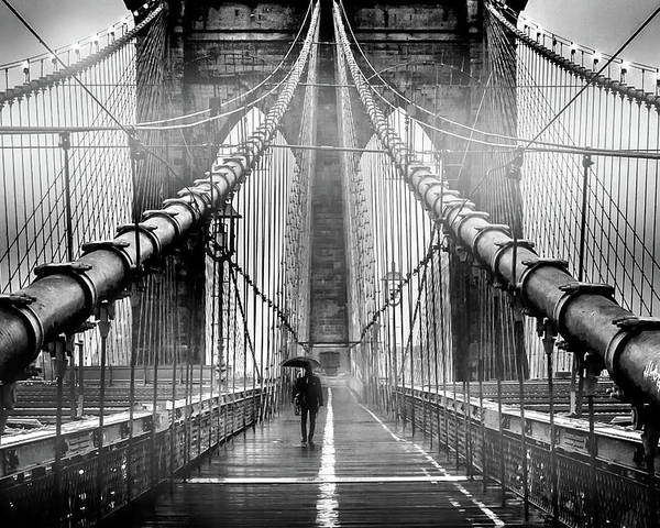 Brooklyn Bridge Poster featuring the photograph Mystery Manhattan by Az Jackson