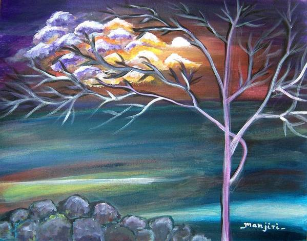 Abstract Painting Tree Sun Moon Clouds Landscape Surreal Mood Purple Red Orange Blue Green White Rocks Canvas Paper Poster featuring the painting Mystic Evening by Manjiri Kanvinde