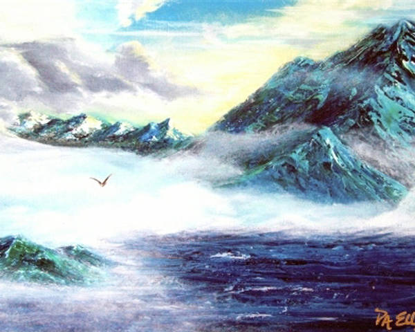 Mountains Poster featuring the painting Mystic Morning by Pam Ellis