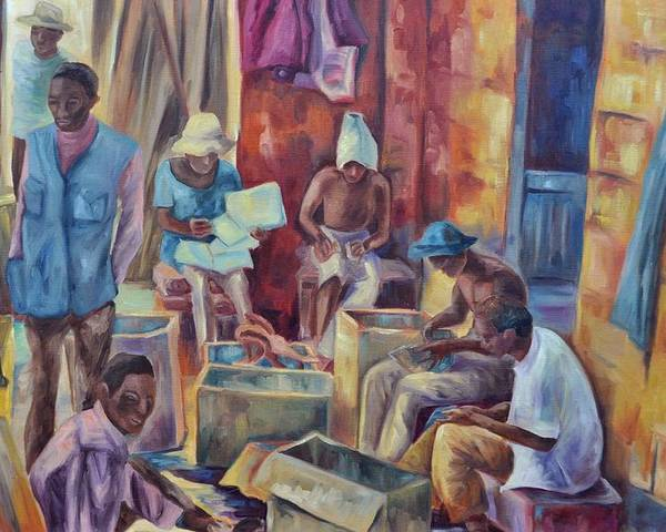 Nairobi Figures Poster featuring the painting Nairobi Woodcarvers by Ginger Concepcion