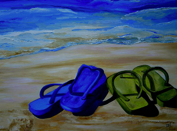 Flip Flops Poster featuring the painting Naked Feet On The Beach by Patti Schermerhorn