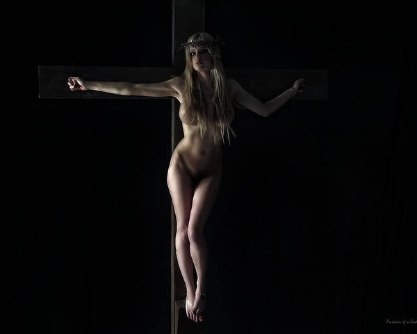 Naked Poster featuring the photograph Naked Girl On Cross by Ramon Martinez