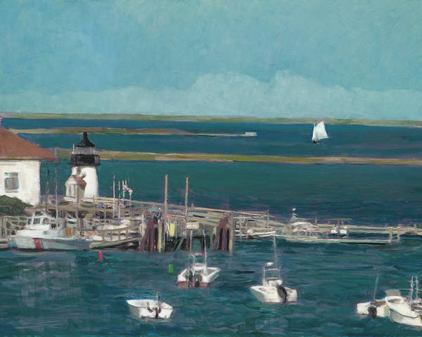 Landscape Poster featuring the painting Nantucket Harbor by Thomas Tribby