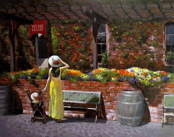 Landscape Poster featuring the painting Napa Wine Cellar In Spring by Takayuki Harada