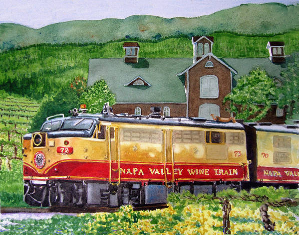 Napa Valley Wine Train Poster featuring the painting Napa Wine Train by Gail Chandler