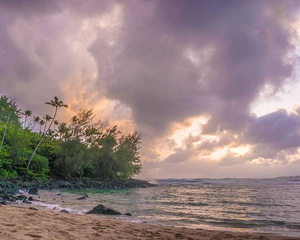 Hawaii.kauai.beaches.vacation.honeymoon.romance.ocean.water.sunset.art. Poster featuring the photograph Napali Sunset by Dustin Pomeroy