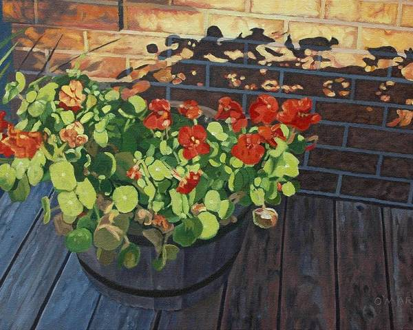 Flowers Poster featuring the painting Nasturtiums In Late Light by Allan OMarra