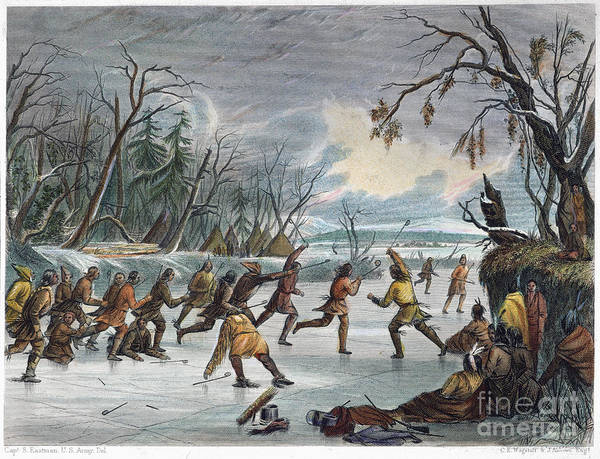 1855 Poster featuring the photograph Native Americans: Ball Play, 1855 by Granger
