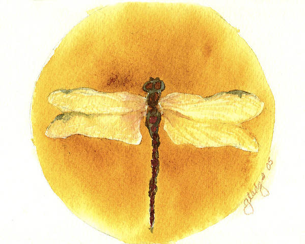 Dragonfly Poster featuring the painting Native Dragonfly by Gladys Folkers