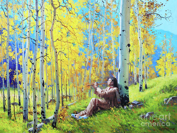 Native American Flute Aspen Native Indian Flute Fall Aspen Trees Birch Garykim Oil Print Art Nature Scenes Healing Grove Patient Santa Fe Fall Trees Mountain Season Beautiful Beauty Yellow Red Orange Fall Leaves Foliage Autumn Leaf Color Mountain Oil Painting Original Art Horizontal Landscape National Park Morning Nature Wallpaper Outdoor Panoramic Peaceful Scenic Sky Travel Vacation Season Bright Autumn National Park America Clouds Landscape Natural Painting Oil Original Vibrant Texture Bluesky Poster featuring the painting Native Spirit by Gary Kim