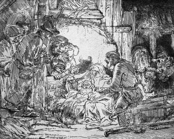 Adoration Of The Shepherds; Shepherd; Infant Jesus Christ; Baby; Child; Joseph; Virgin Mary; Madonna; Holy Family; Stable; Manger; Ox; Oxen; Straw Poster featuring the drawing Nativity by Rembrandt