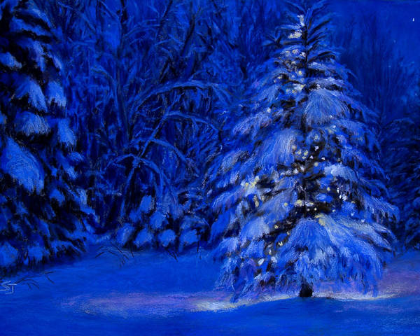 Christmas Tree In The Forest Poster featuring the pastel Natural Christmas Tree by Susan Jenkins