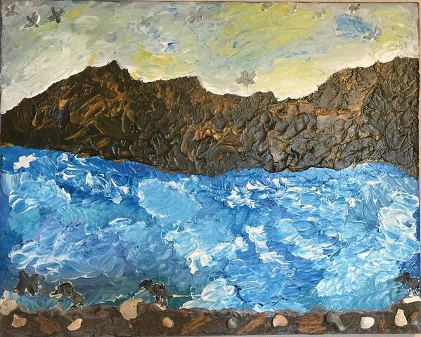 Landscape Poster featuring the painting Nature On The Sea by Debra Mendes