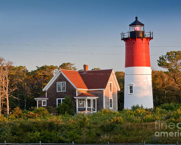 Barnstable County Poster featuring the photograph Nauset Beach Light by Susan Cole Kelly