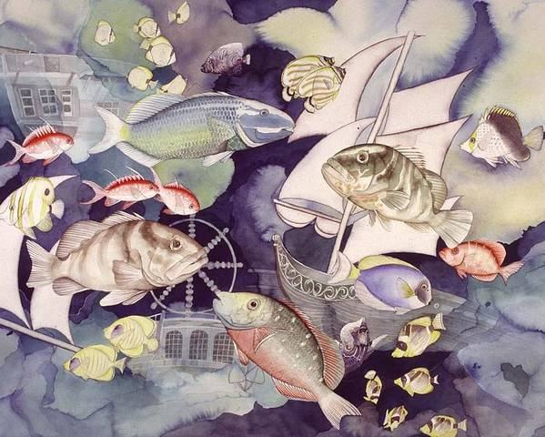 Sealife Poster featuring the painting Nautical Players by Liduine Bekman