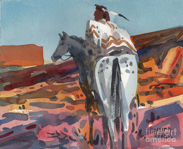 Equestrian Poster featuring the painting Navajo Rider by Donald Maier