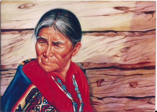 Native American Poster featuring the painting Navajo Woman by Naomi Dixon