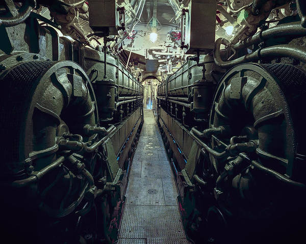 Nazi U-boat Submarine Engine Room - World War Two Poster