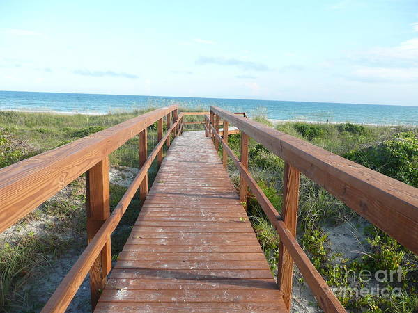 Boardwalk Poster featuring the photograph Nc Beach Boardwalk by Barb Montanye Meseroll