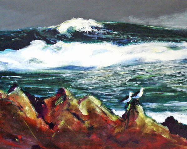 Seascape Poster featuring the painting Near Pacific Grove by Paul Miller