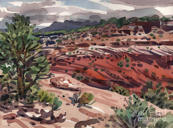 Canyon De Chelly Poster featuring the painting Near The Edge by Donald Maier