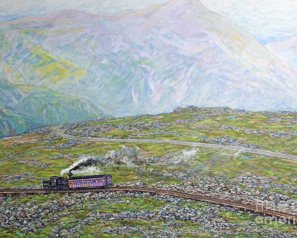Train Poster featuring the painting Near The Top by Gary Symington