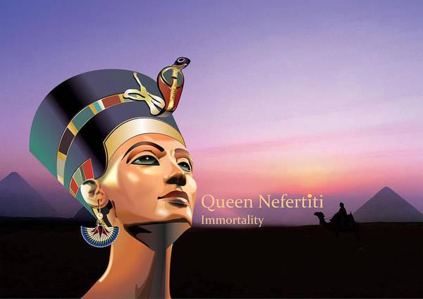Nefertiti Poster featuring the digital art Nefertiti by Debbie McIntyre