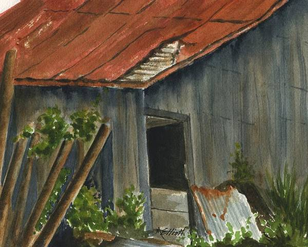Architecture Poster featuring the painting Neighbor Don's Old Barn 2 by Marsha Elliott