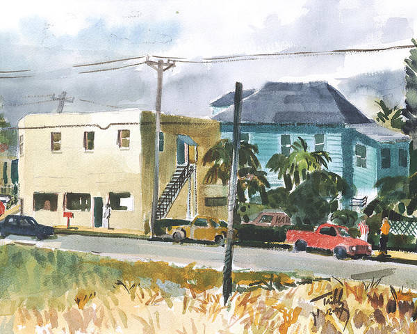 Landscape Poster featuring the painting Neighborhood Corner by Thomas Tribby