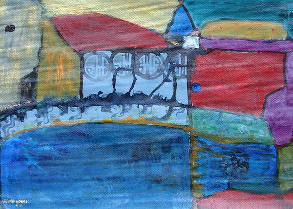 Houses Poster featuring the painting Neighbourhood by Rivka Waas
