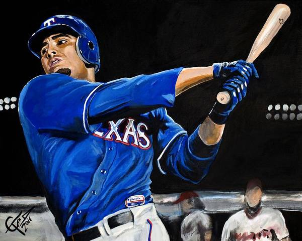 Nelson Cruz Poster featuring the painting Nelson Cruz by Tom Carlton