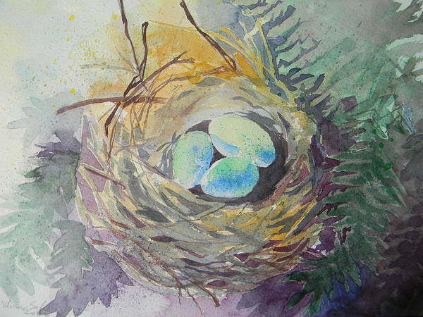 Eggs Poster featuring the painting Nest In The Ferns by Lisa Schorr
