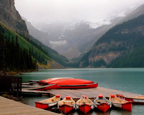 Lake Louise Poster featuring the photograph Nestled Boat Launch by Diane Wallace