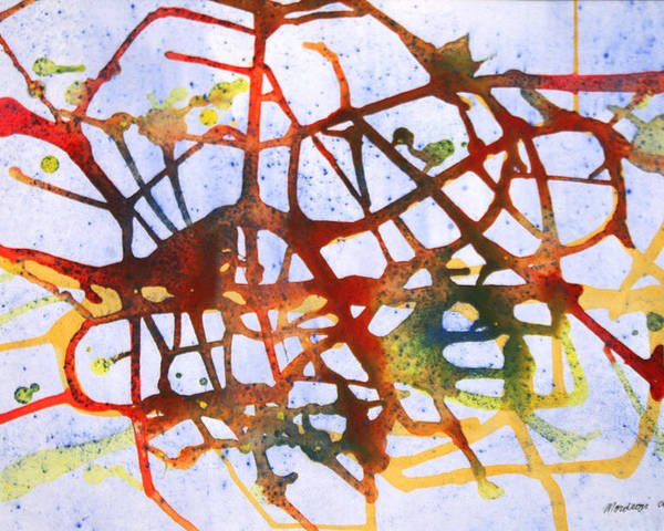 Abstract Poster featuring the painting Neuron by Mordecai Colodner