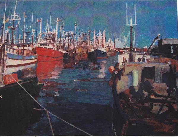 New Bedfor Poster featuring the painting New Bedford Fishing Fleet by David Poyant Paintings
