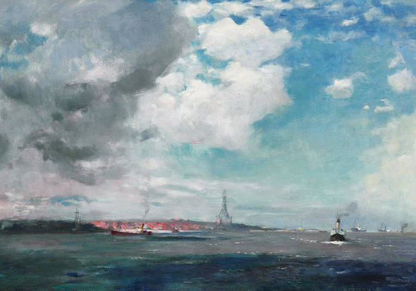 Seascape Poster featuring the painting New Brighton From The Mersey by JH Hay